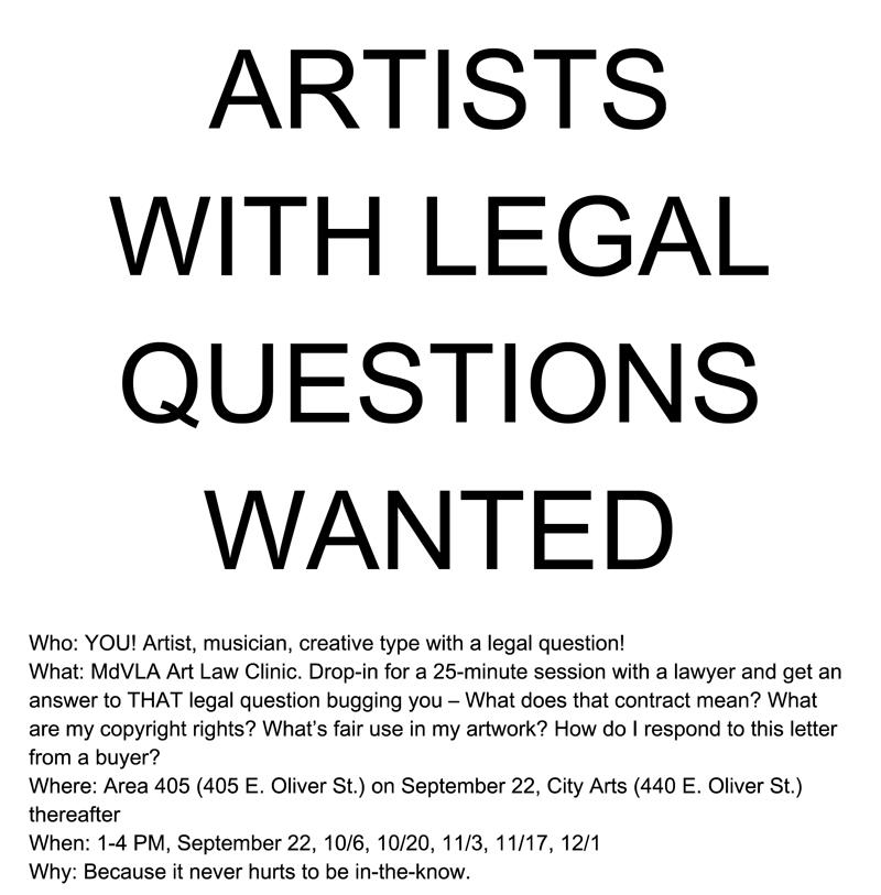 Artists with Legal Questions 09.22-12.01.2012