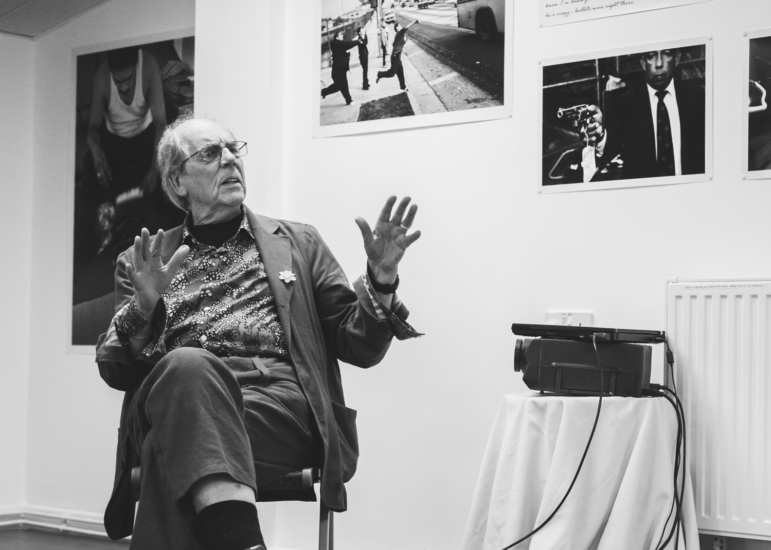 David Hurn conducts a talk during the Joseph Rodriguez exhibition, Third Floor Gallery, Cardiff.