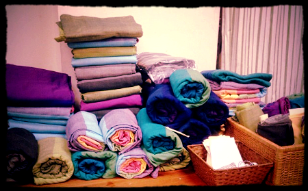 Just a small pile of wraps that came in. Can you spot the color ways #wrapgeek #babywearing