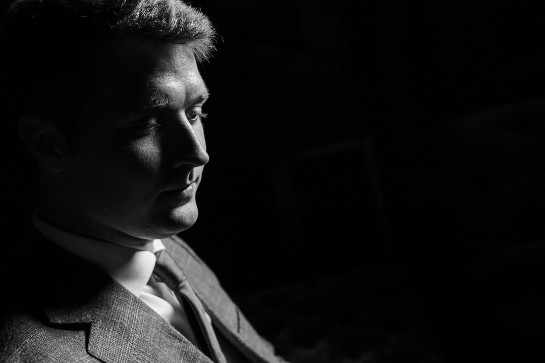 NYC branded lifestyle portrait black and white pensive expression