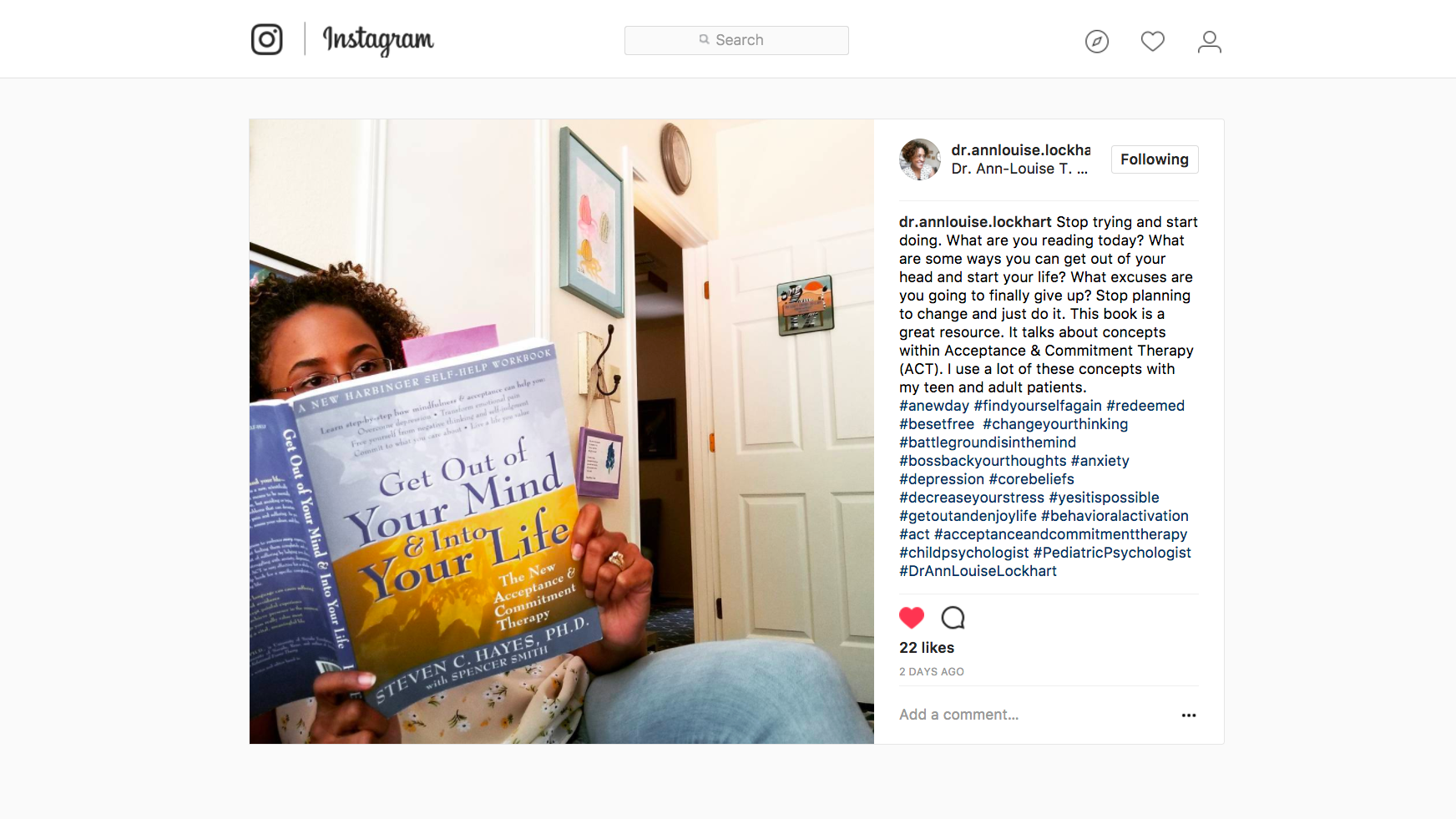 DIY Branded Lifestyle Portrait Instagram post of client reading a book