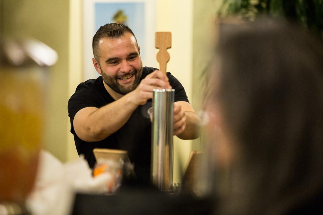 John DeMato Productions speaking fireside chat WeWork grabbing some beer