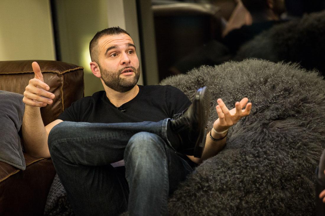 John DeMato Productions speaking fireside chat WeWork closeup talking