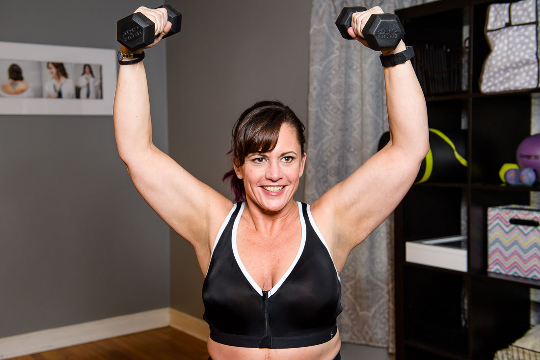 Nutrition Wellness Coach Tricia Kallmeyer working out