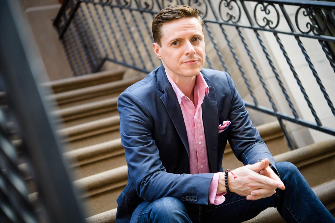speaker author coach James Taylor branded lifestyle portrait NYC on stoop