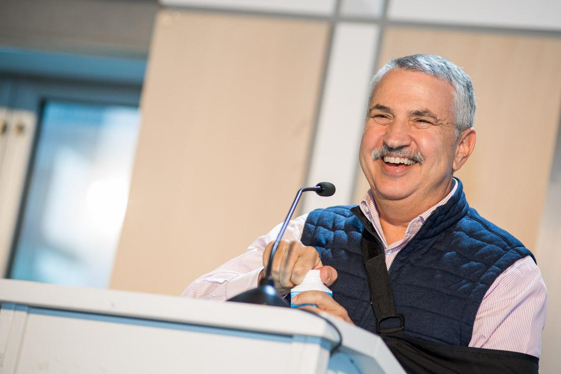 branded lifestyle portrait candid speaker photo Thomas Friedman