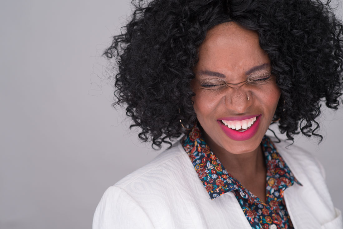 branded lifestyle portrait NYC Mimy laughing