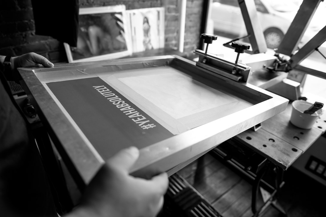 NYC branded lifestyle portraits #yeahabsolutely setting screen on printer
