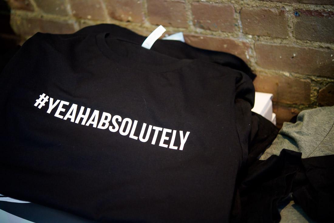 NYC branded lifestyle portraits #yeahabsolutely finished shirt