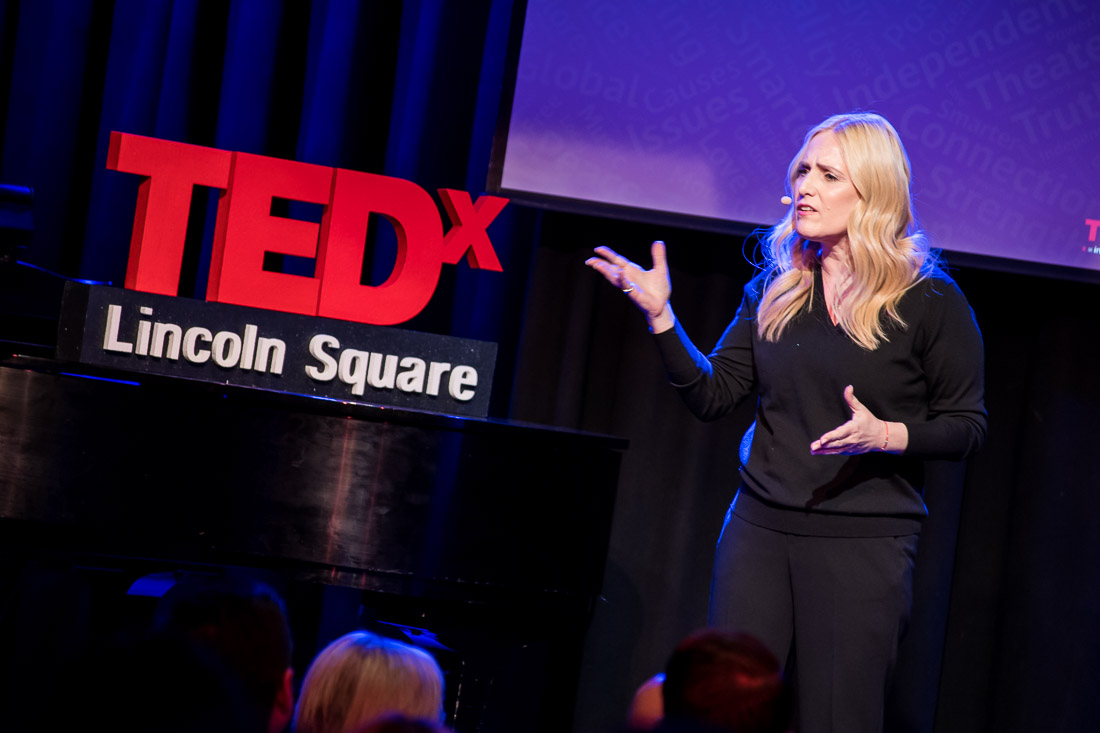 NYC branded lifestyle portrait TEDxLincolnSquare Lolly Daskal close up talking