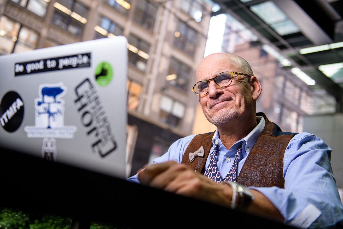 NYC Branded Lifestyle Portrait SpeakerAuthor Thought LEader Ted Rubin grinning