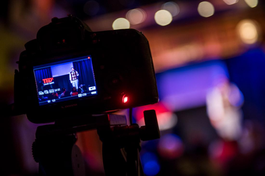 NYC Branded Lifestyle Portrait TEDxLincolnSquare Rabbi Poupko WS through the video camera