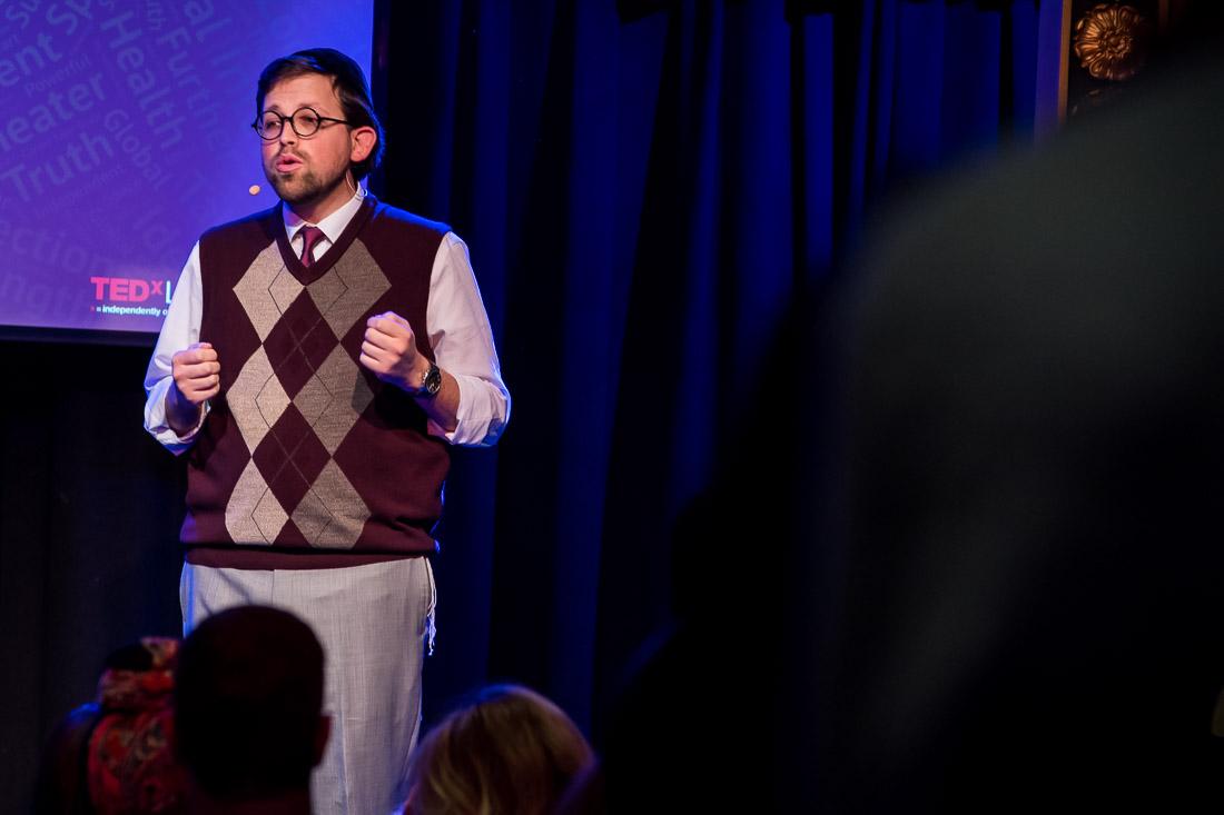 NYC Branded Lifestyle Portrait TEDxLincolnSquare Rabbi Poupko tighter shot speaking