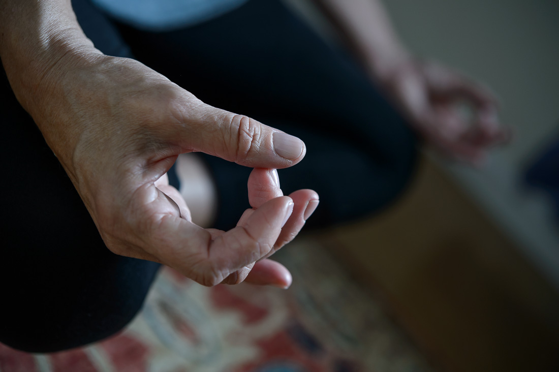 NYC Branded Lifestyle Portrait Kate Mackinnon meditating close up hands