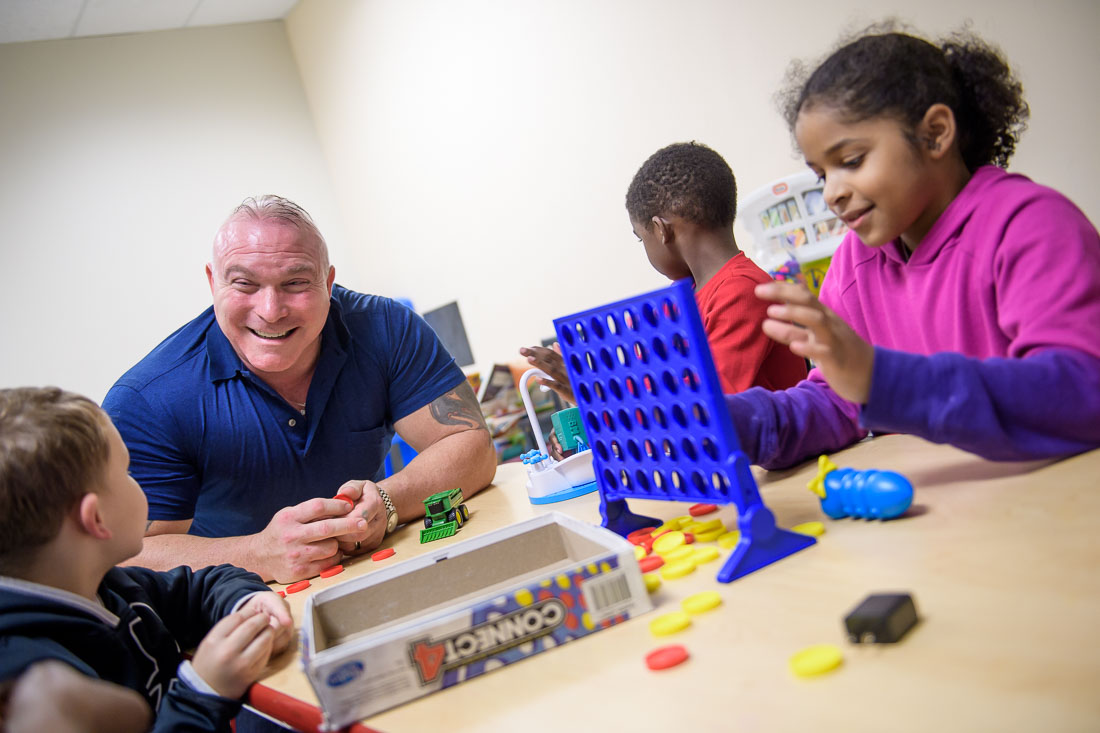 NYC Branded Lifestyle Portrait Angelwatch Dave Vitalli laughing with kids