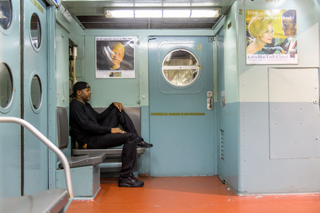 NYC Branded Lifestyle Portrait Podcaster G Moody MTA train sitting in back seat
