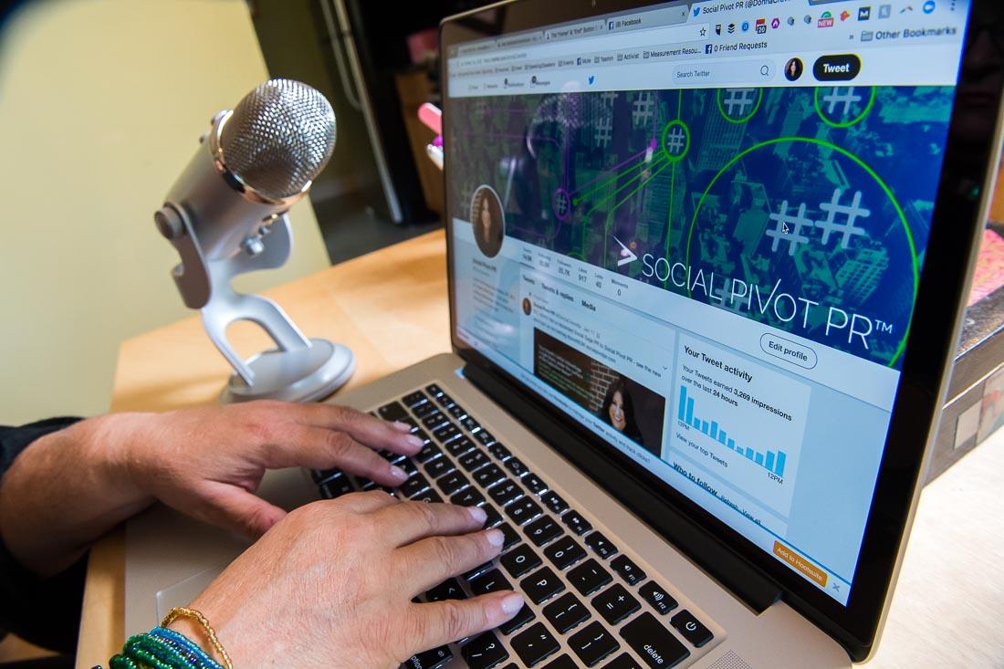 branded lifestyle portraits social pivot pr twitter page on laptop