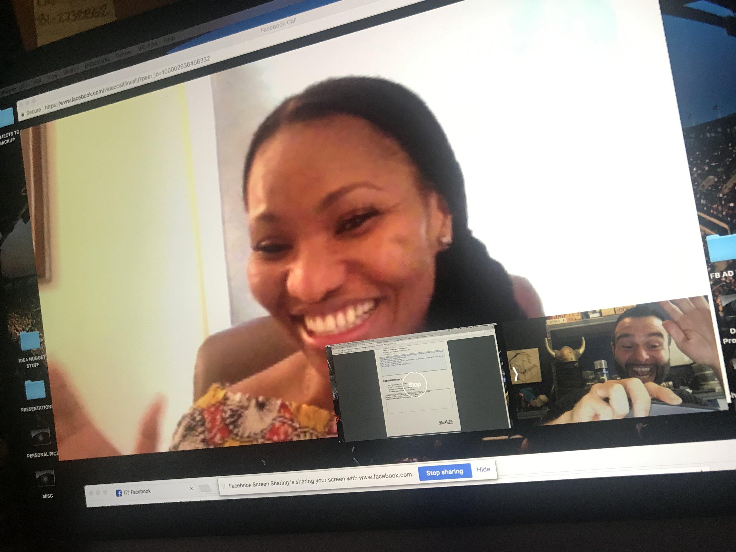 screeenshot Chinwe Esimai and John DeMato skype