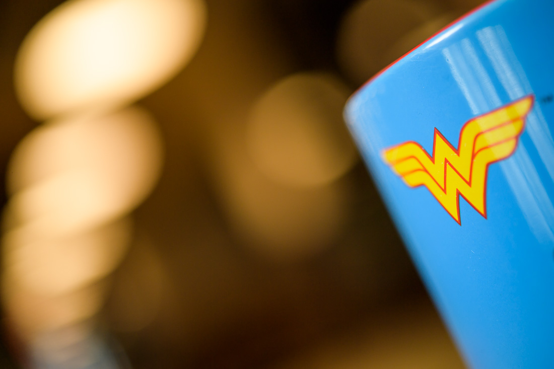 branded lifestyle portrait Wonder Woman coffee mug
