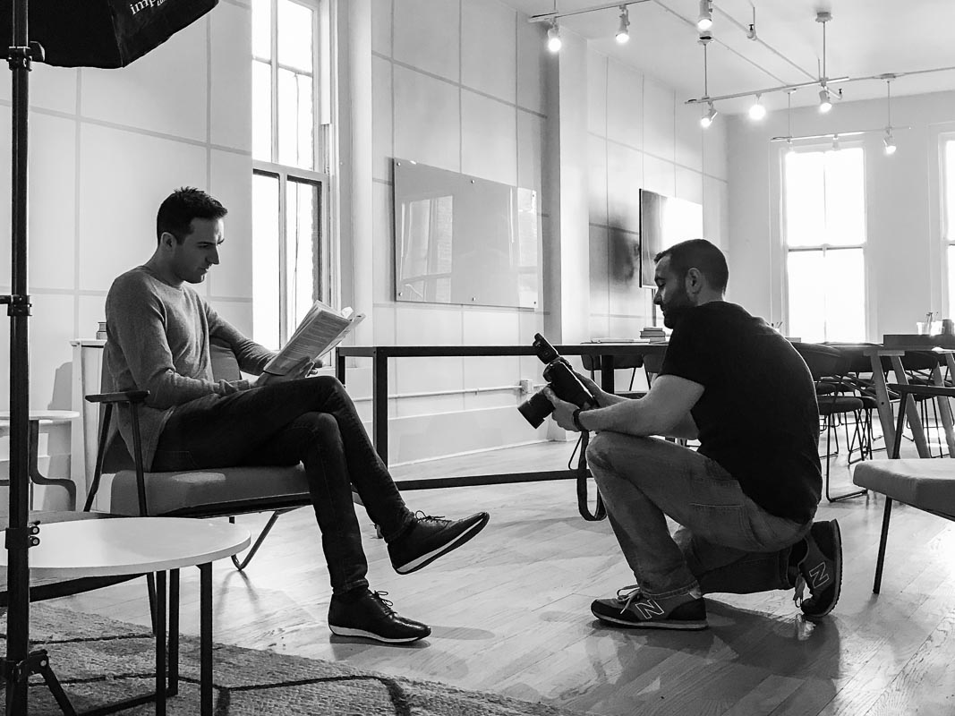 NYC branded lifestyle portrait Milan and John DeMato on set