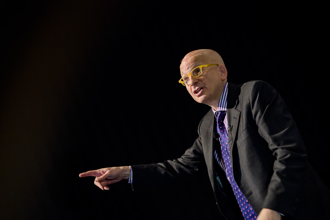 NYC Branded Lifestyle Portrait speaker marketing expert Seth Godin speaking from stage