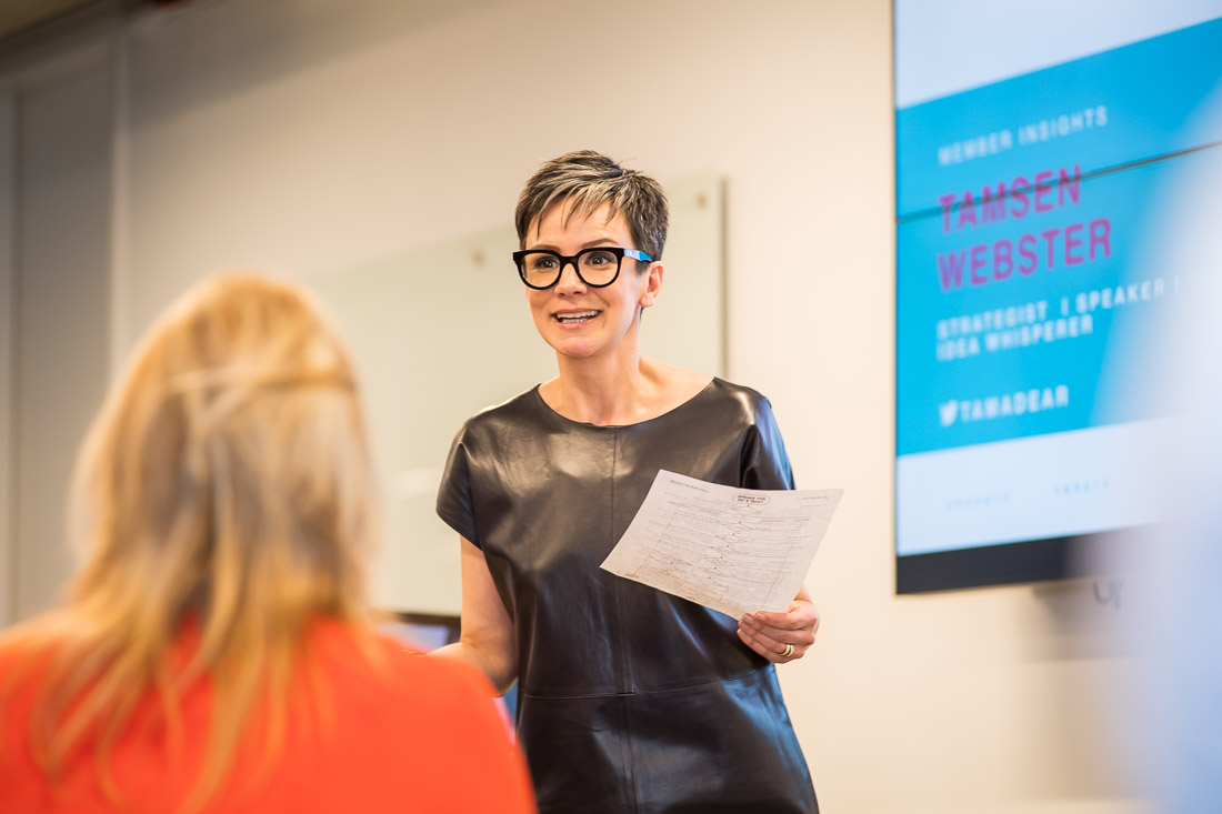 NYC Branded Lifestyle Portraits speaker Tamsen Webster teaching a masterclass