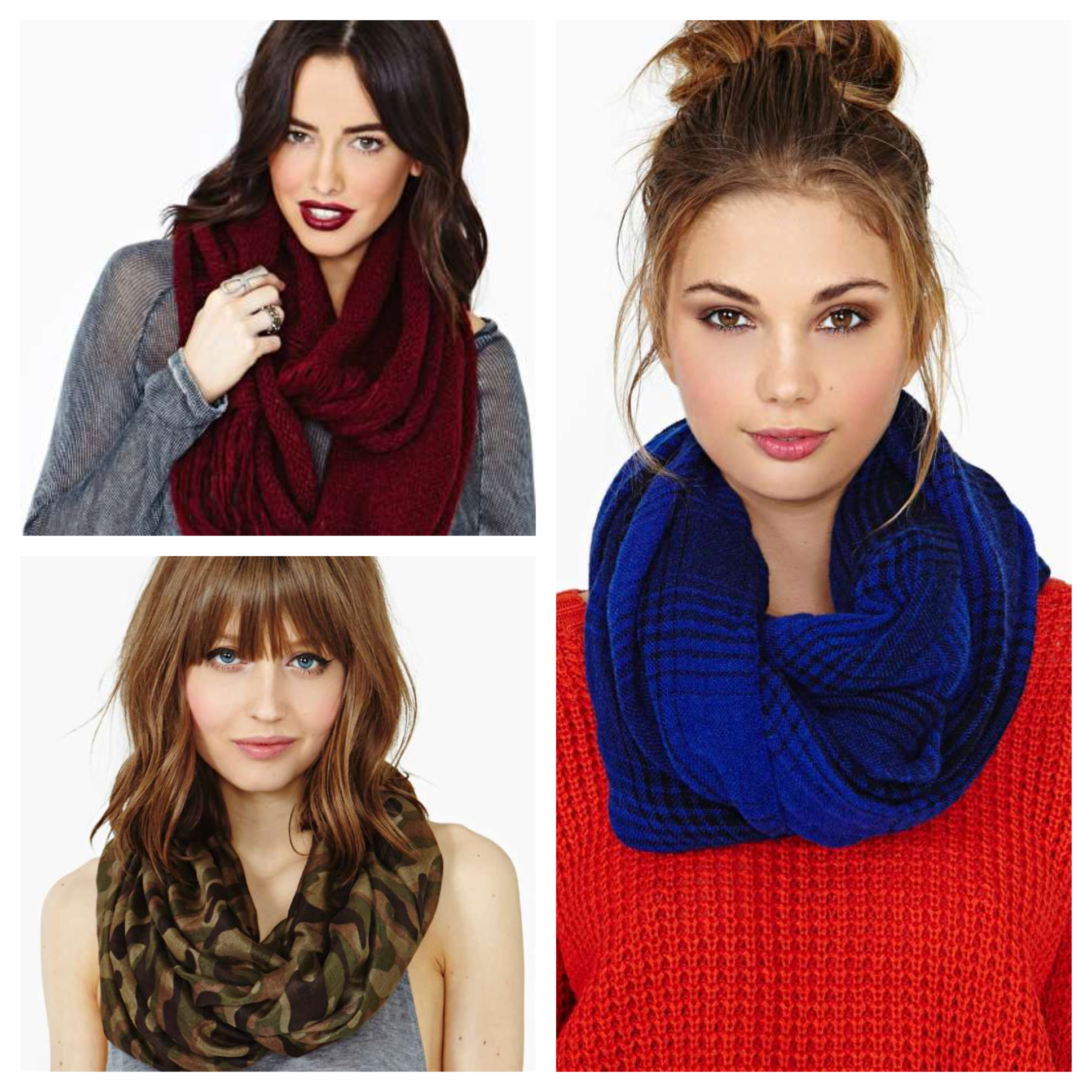 Infinity scarves from Nasty Gal.