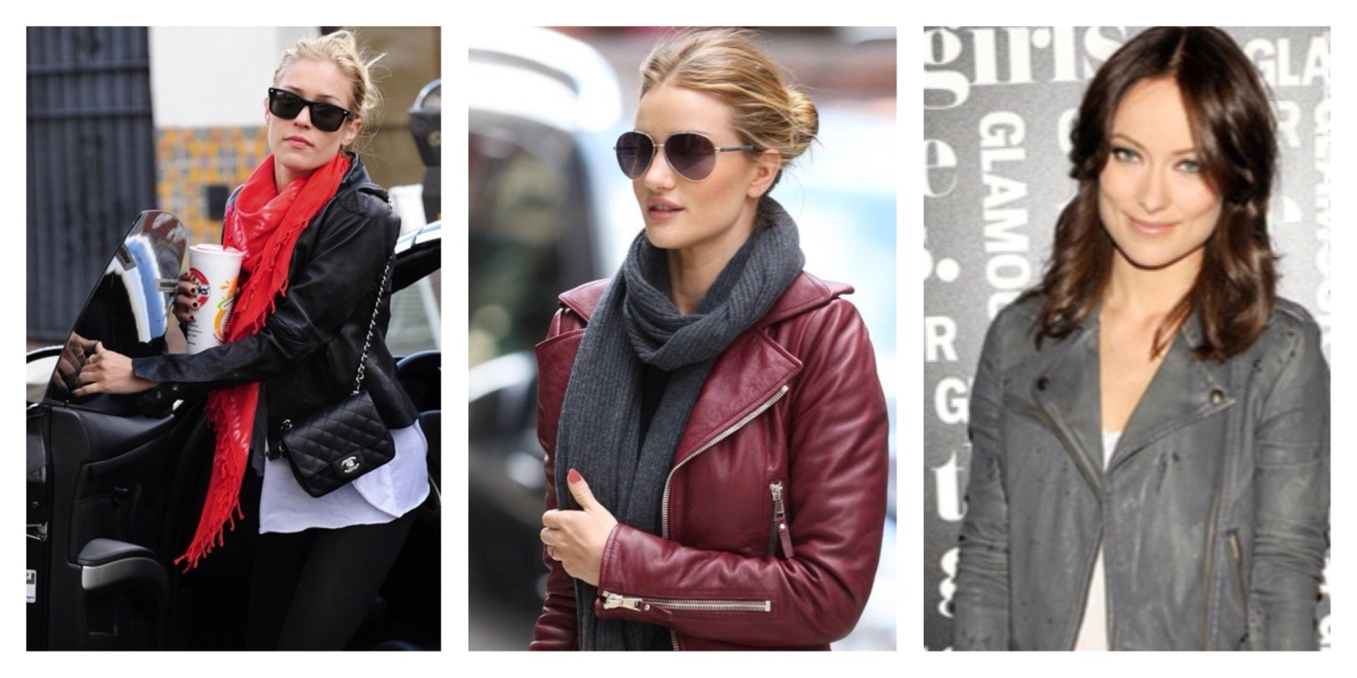 Kristen Cavallari, Rosie Huntington-Whiteley & Olvia Wilde in killer moto jackets.