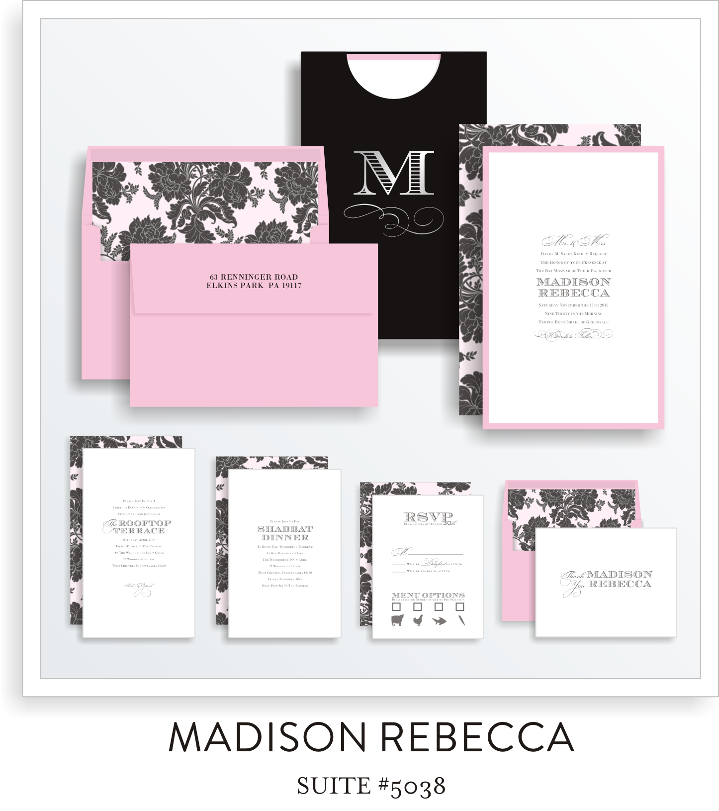 bat mitzvah invitations 5038
