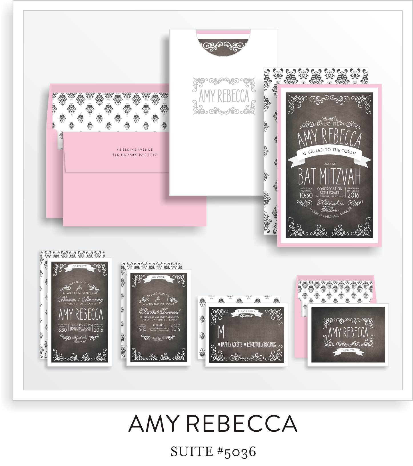 bat mitzvah invitations 5036
