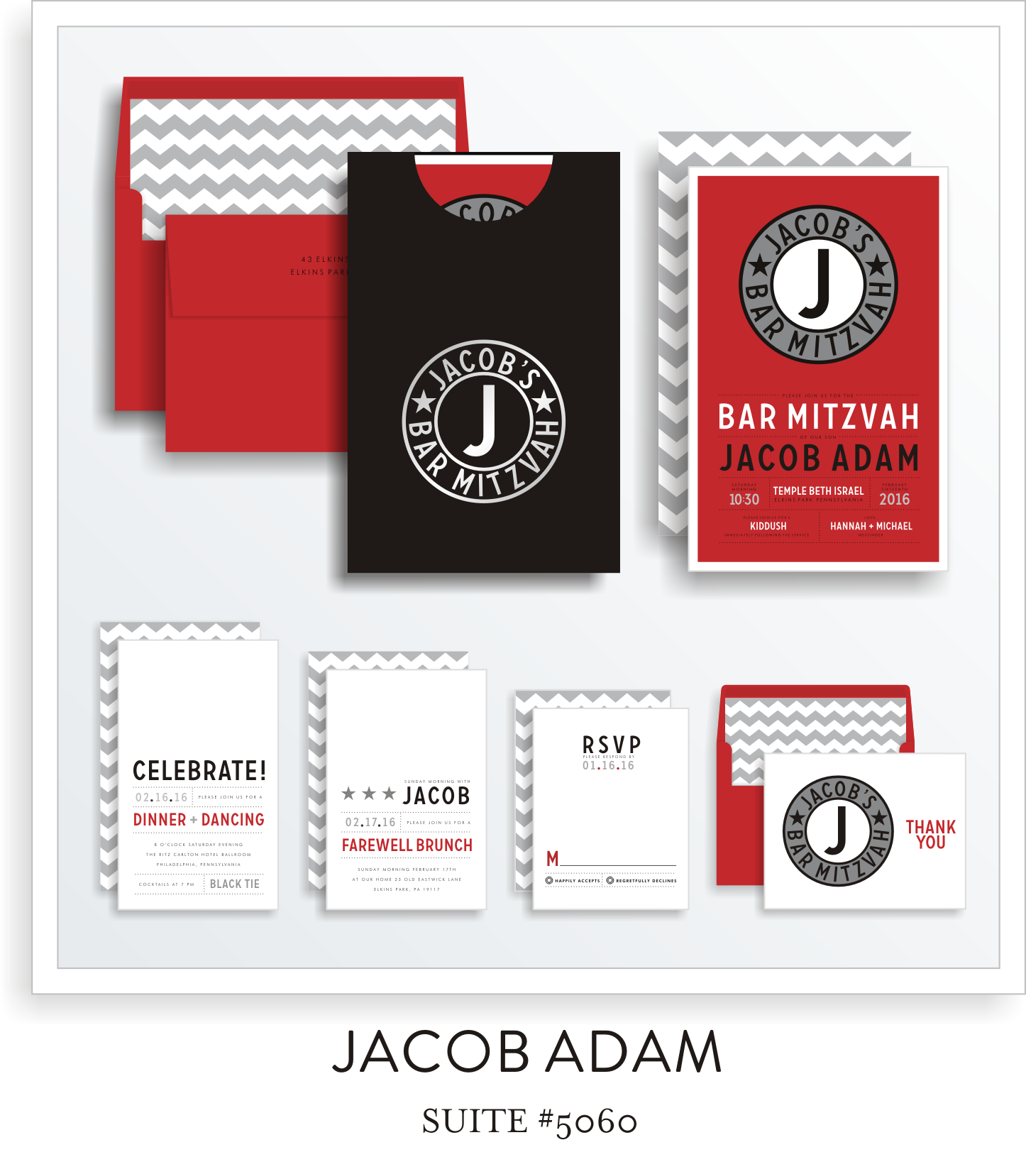 Copy of <a href=/bar-mitzvah-invitations-5060>Suite Details→</a><strong><a href=/jacob-adam-in-colors>see more colors→</a></strong>