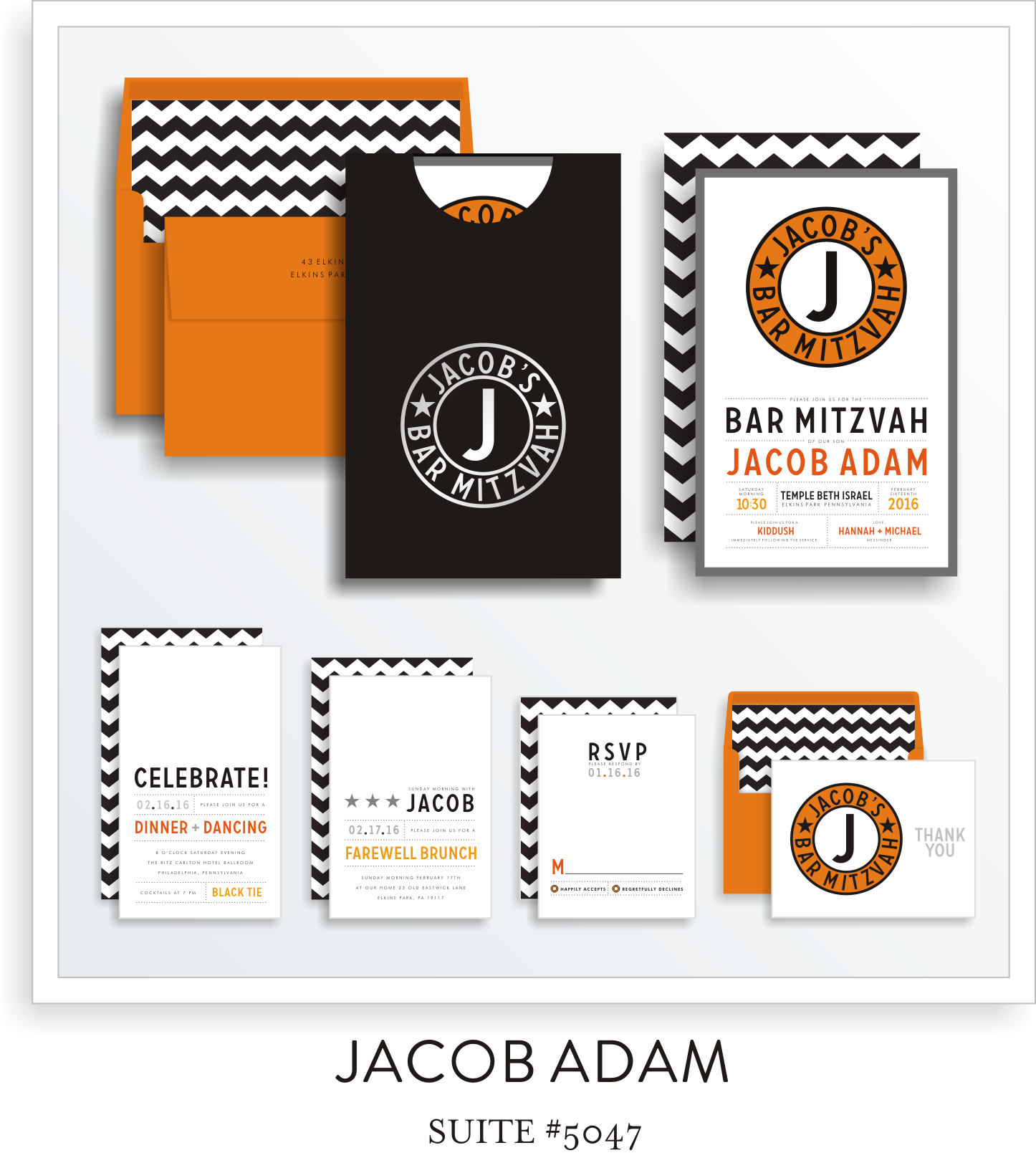 Copy of <a href=/bar-mitzvah-invitations-5047>Suite Details→</a><strong><a href=/jacob-adam-in-colors>see more colors→</a></strong>