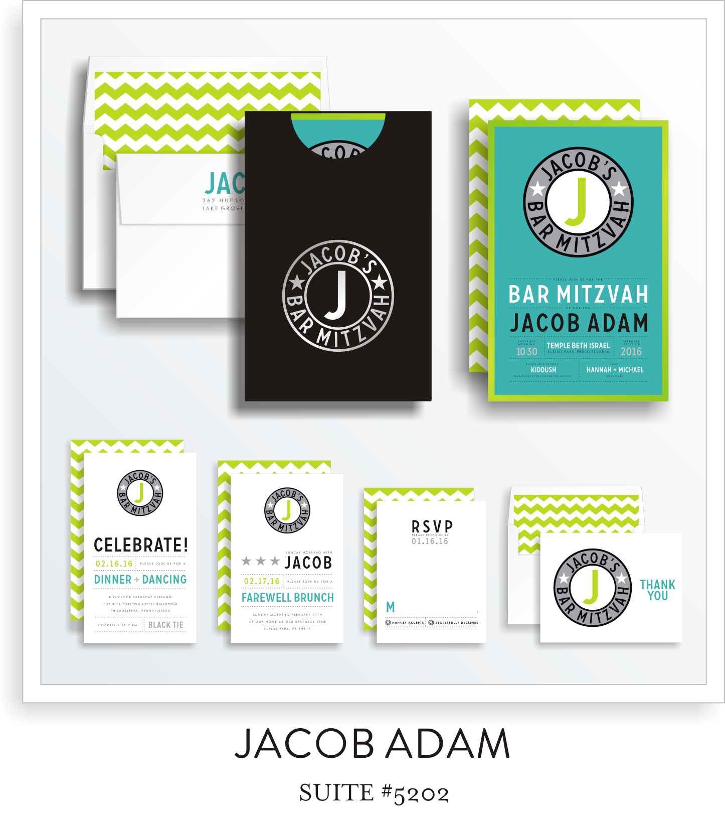 Copy of <a href=/bar-mitzvah-invitations-5202>Suite Details→</a><strong><a href=/jacob-adam-in-colors>see more colors→</a></strong>