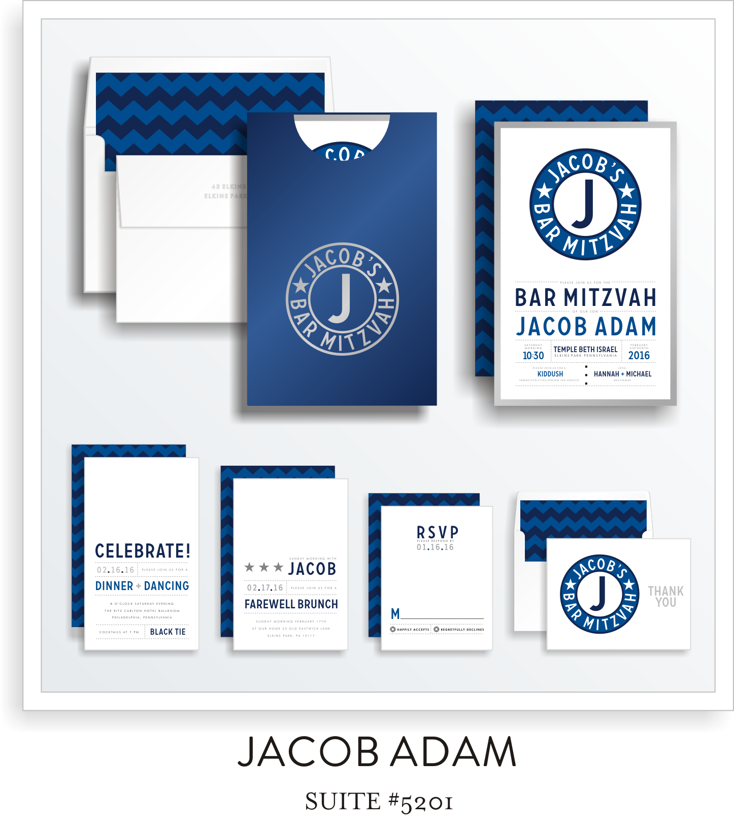 Copy of <a href=/bar-mitzvah-invitations-5201>Suite Details→</a><strong><a href=/jacob-adam-in-colors>see more colors→</a></strong>