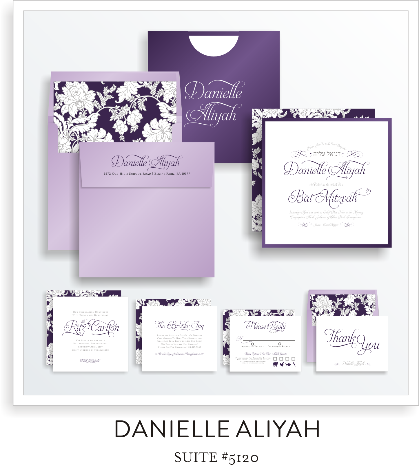 bat mitzvah invitation suite 5120