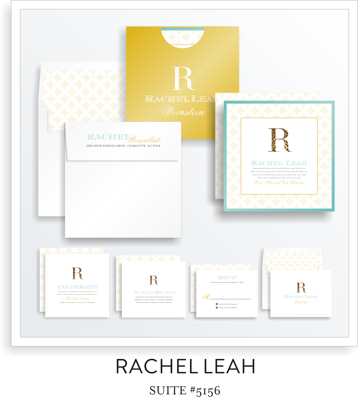 bat mitzvah invitations suite 5156