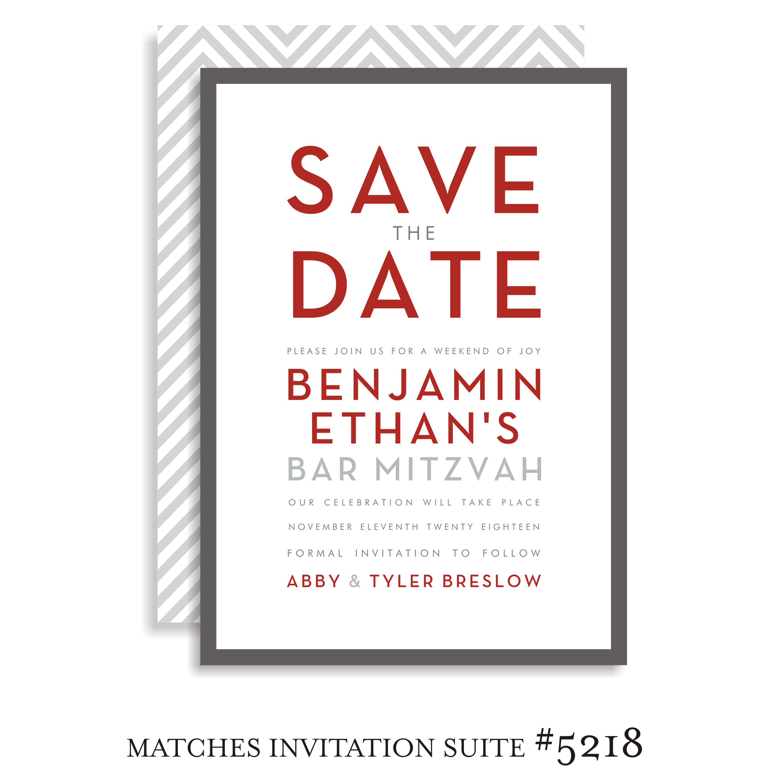 Save the Date Bar Mitzvah Suite 5218 - Benjamin Ethan