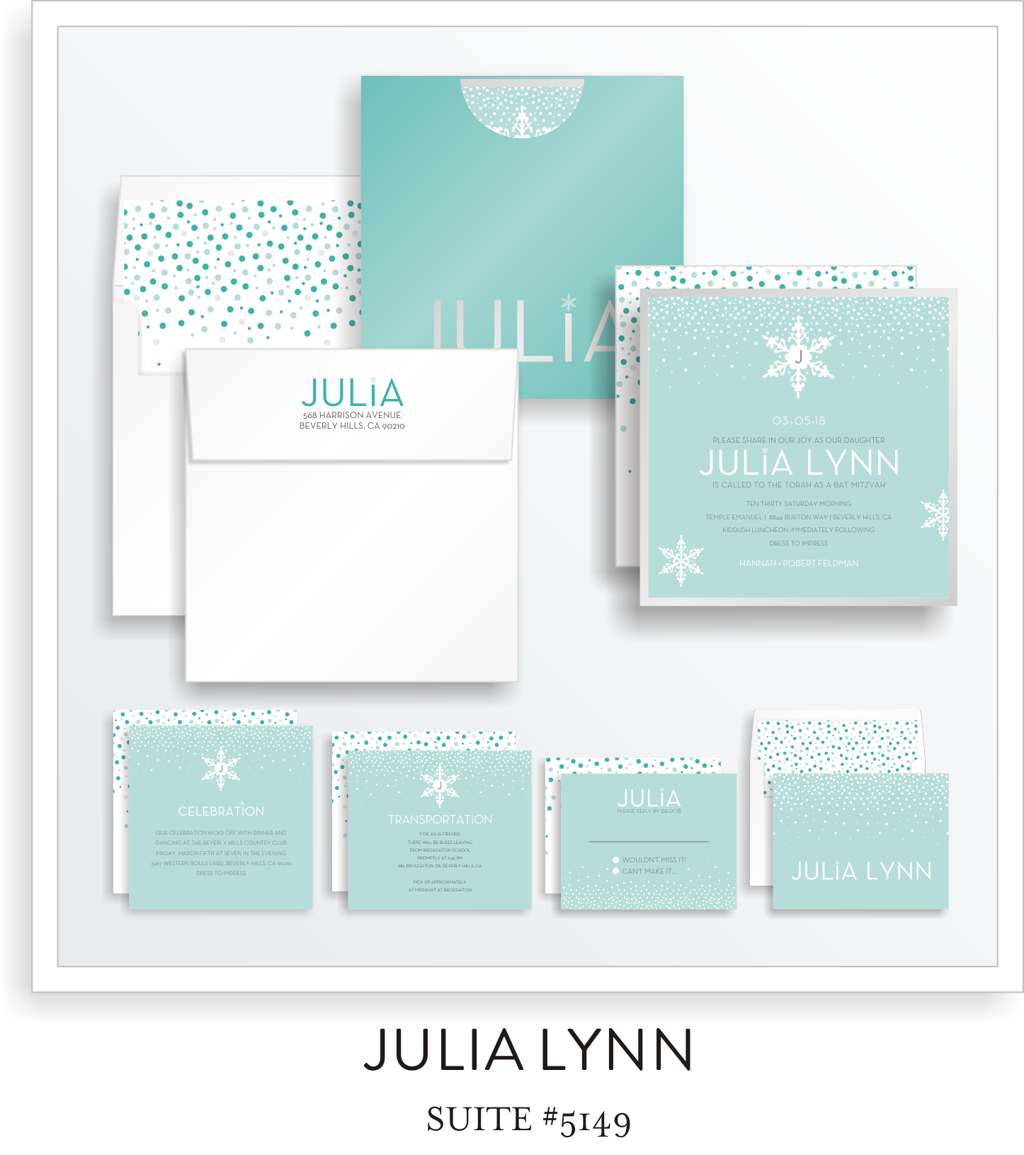 Bat Mitzvah Invitation Suite 5149 - Julia Lynn