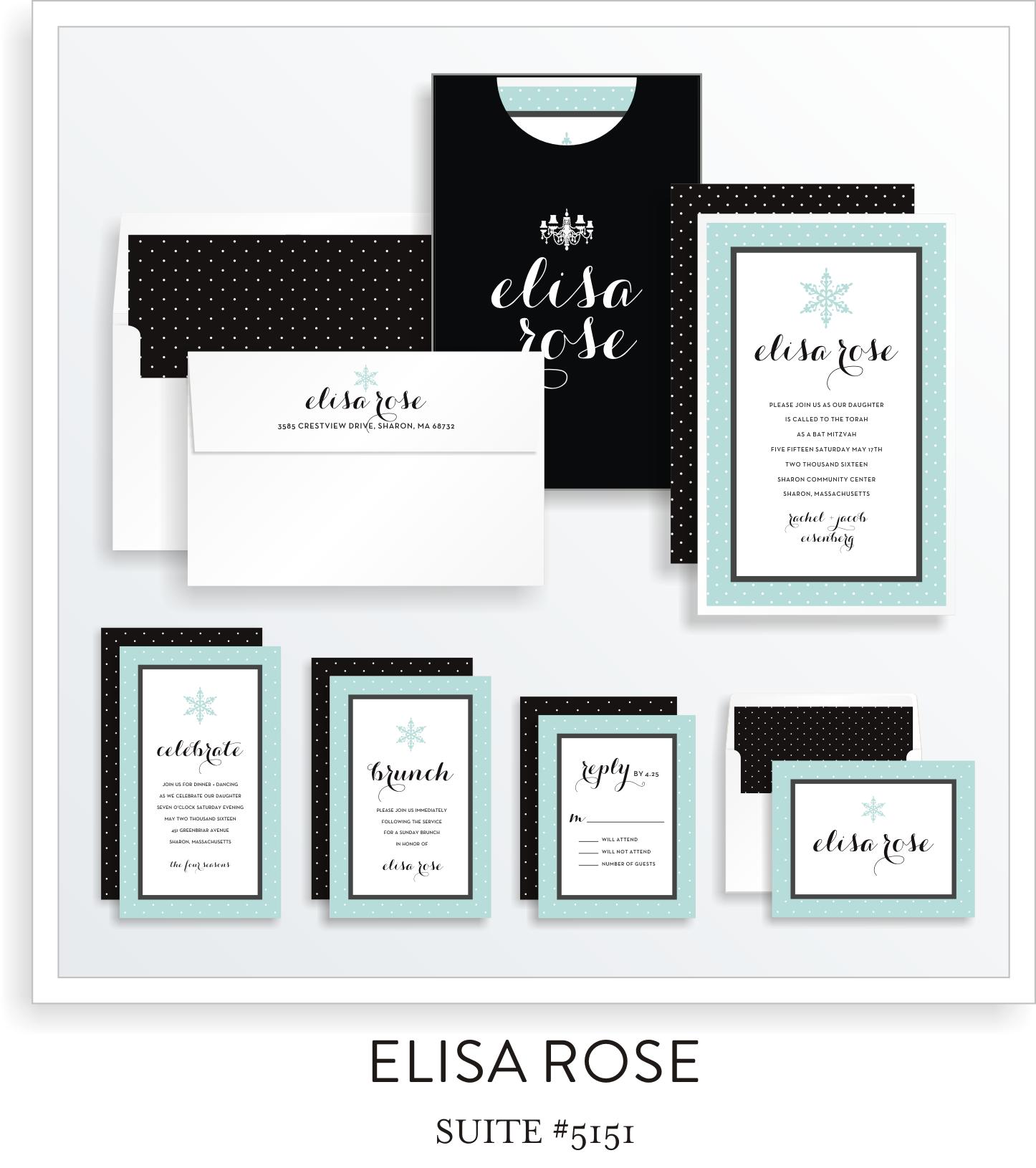 Bat Mitzvah Invitation Suite 5153 - Elisa Rose