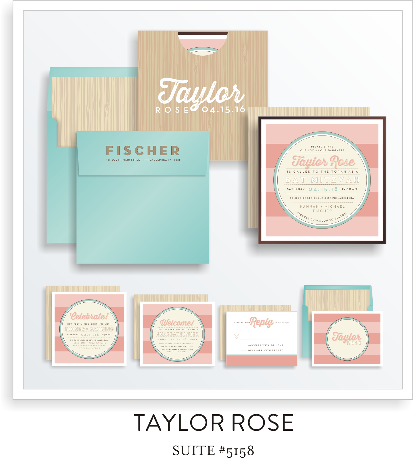 Bat Mitzvah Invitation Suite 5158 - Taylor Rose