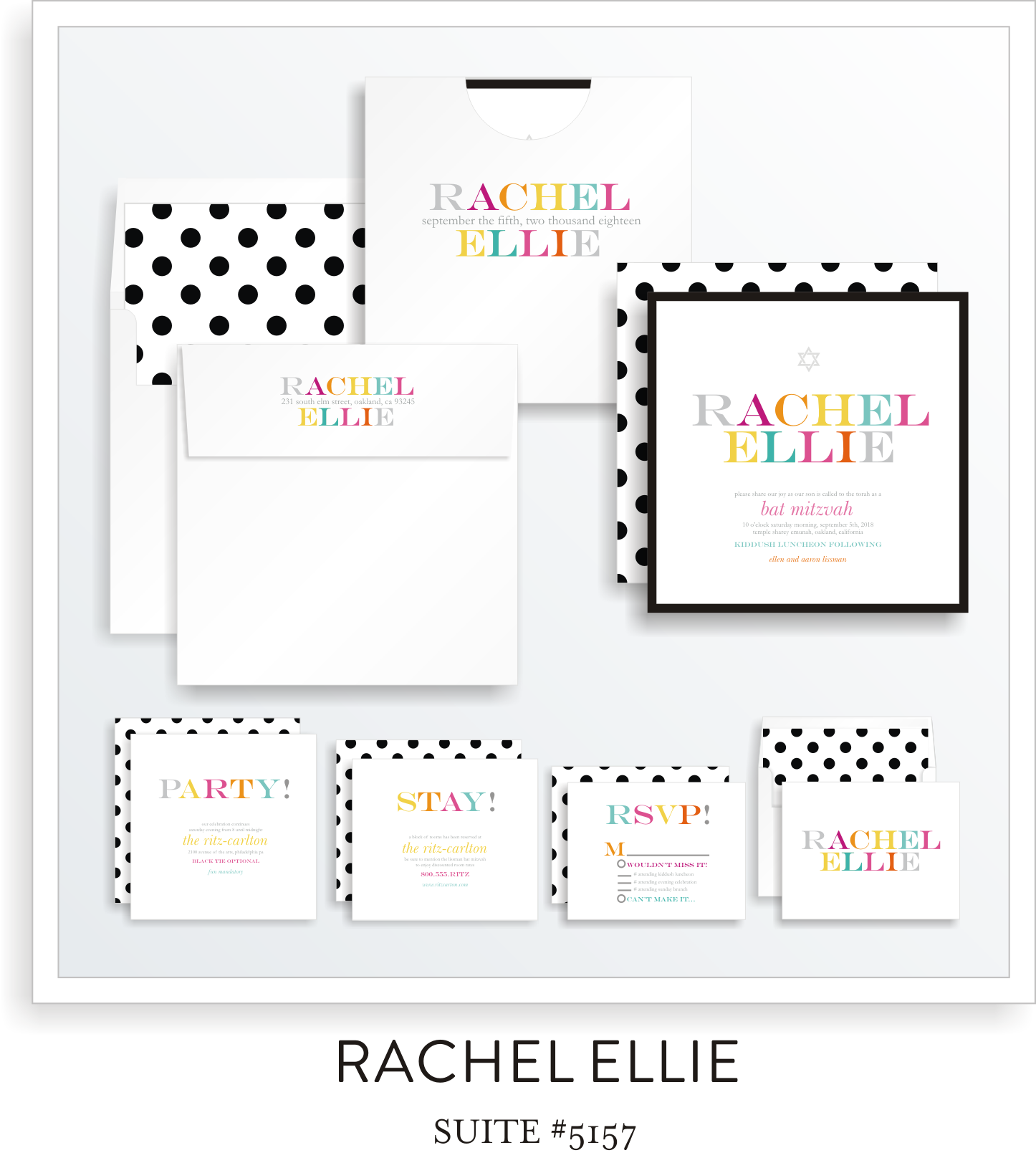 Copy of Bat Mitzvah Invitation Suite 5157 - Rachel Ellie