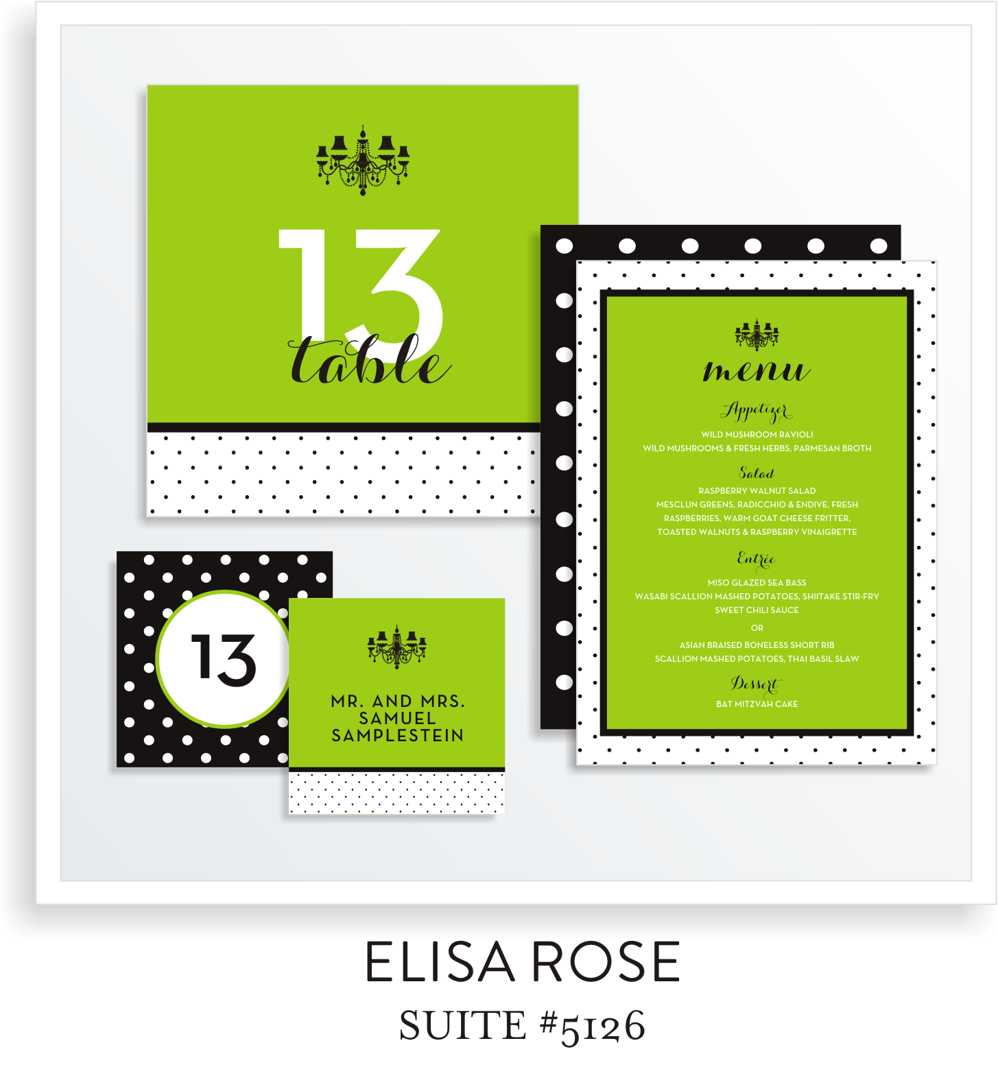 Table Top Decor Bat Mitzvah Suite 5126 - Elisa Rose
