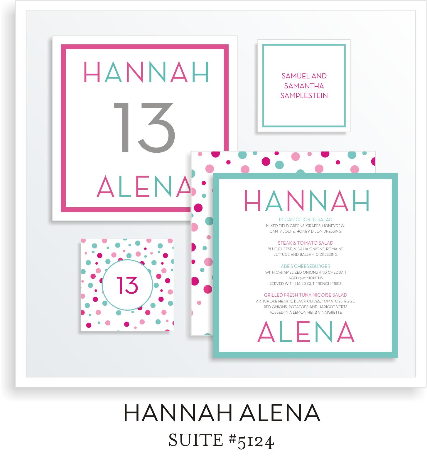 Table Top Decor Bat Mitzvah Suite 5124 - Hannah Alena