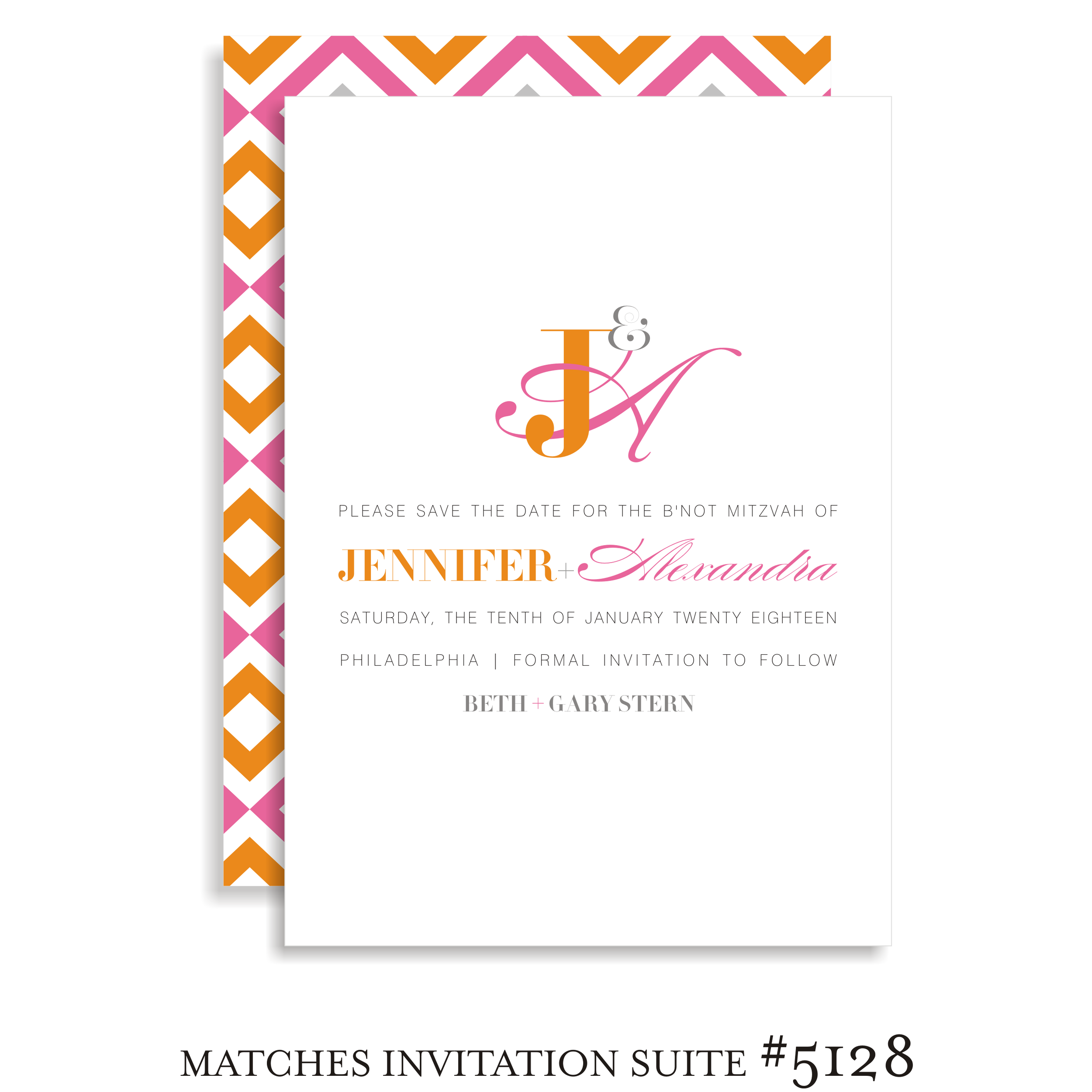 Save the Date B'not Mitzvah Suite 5128 - Jennifer & Alexandra