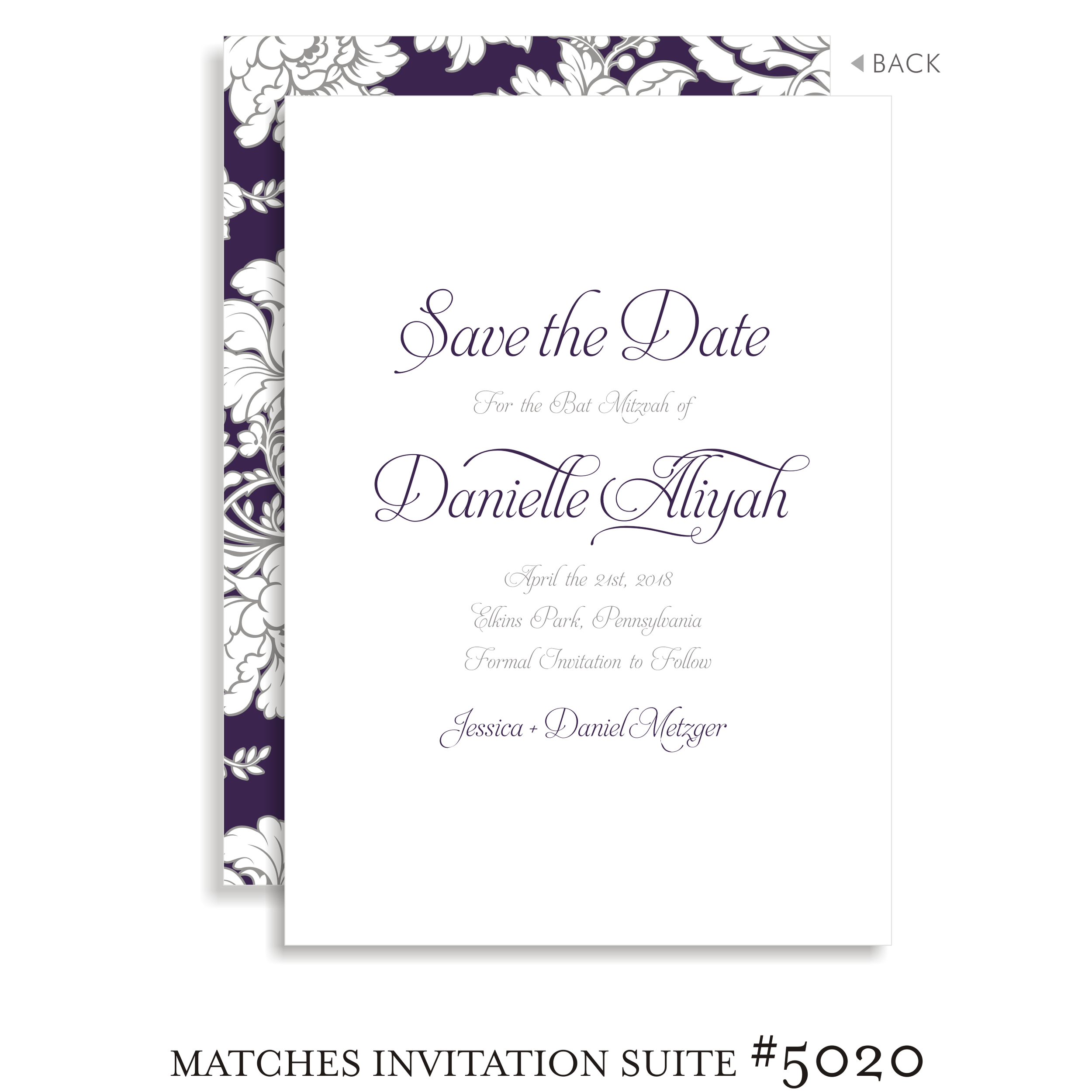 Save the Date Bat Mitzvah Suite 5120 - Danielle Alliyah