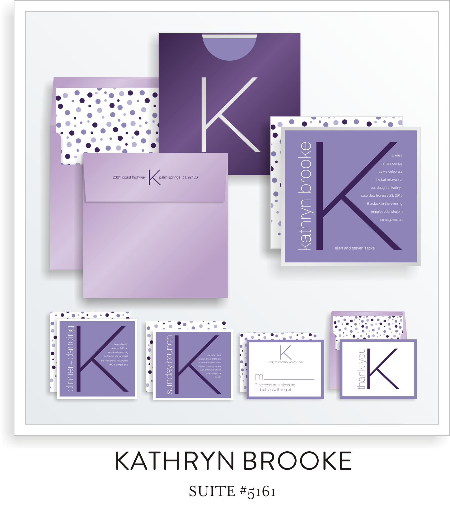 Bat Mitzvah Invitation Suite 5161 - Kathryn Brooke