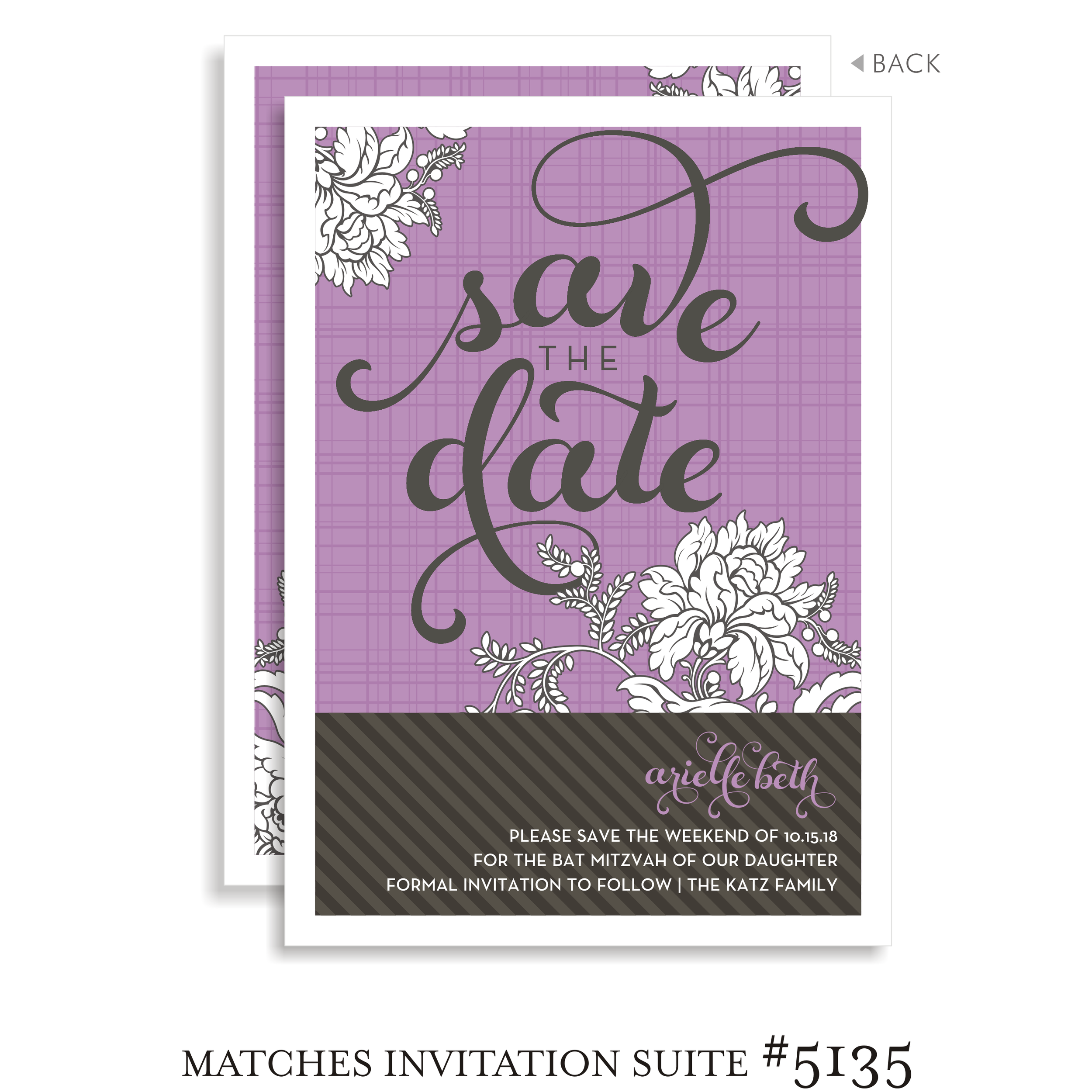 Save the Date Bat Mitzvah Suite 5135 - Arielle in Flowers