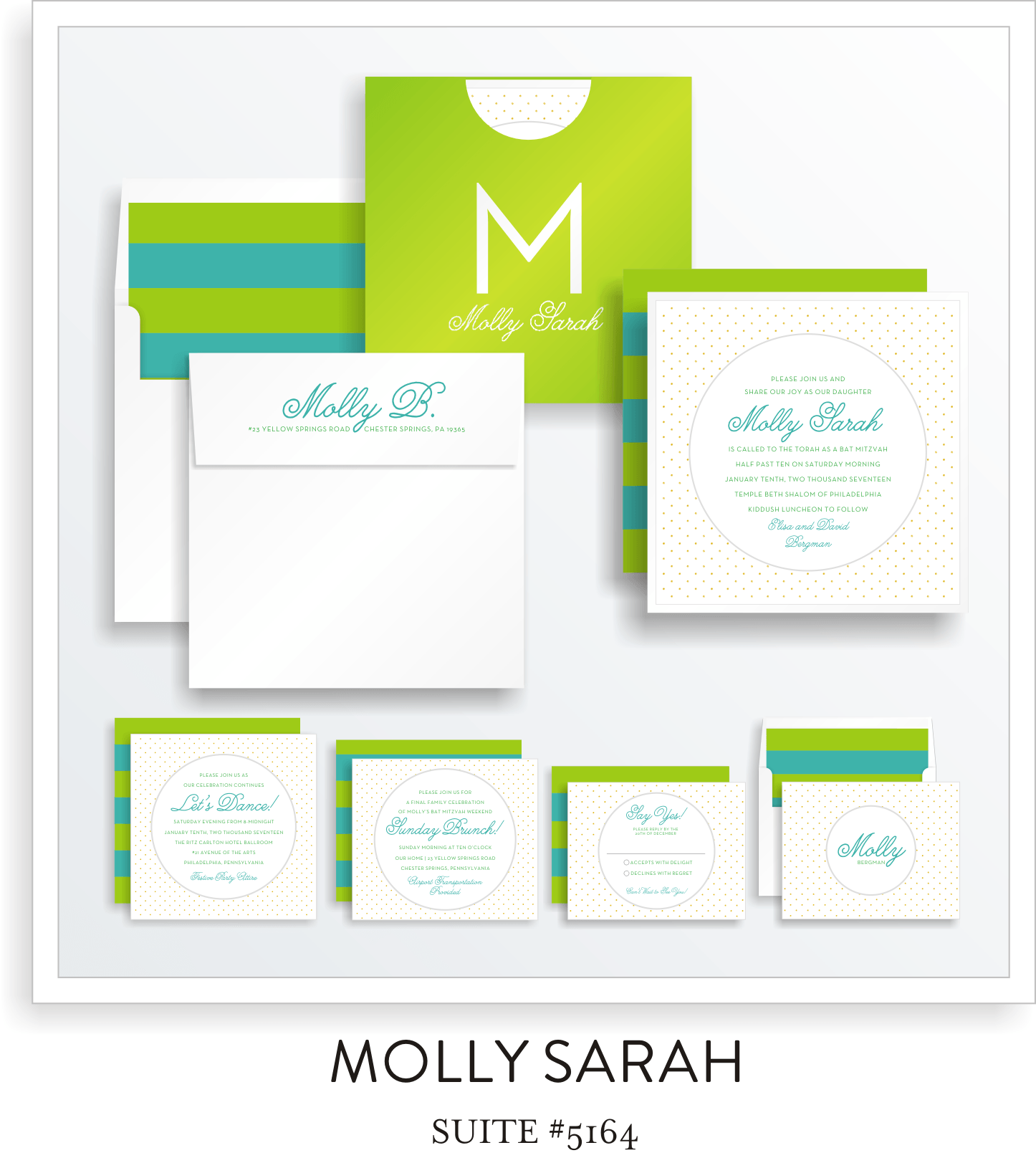 Bat Mitzvah Invitation Suite 5164 - Molly Sarah