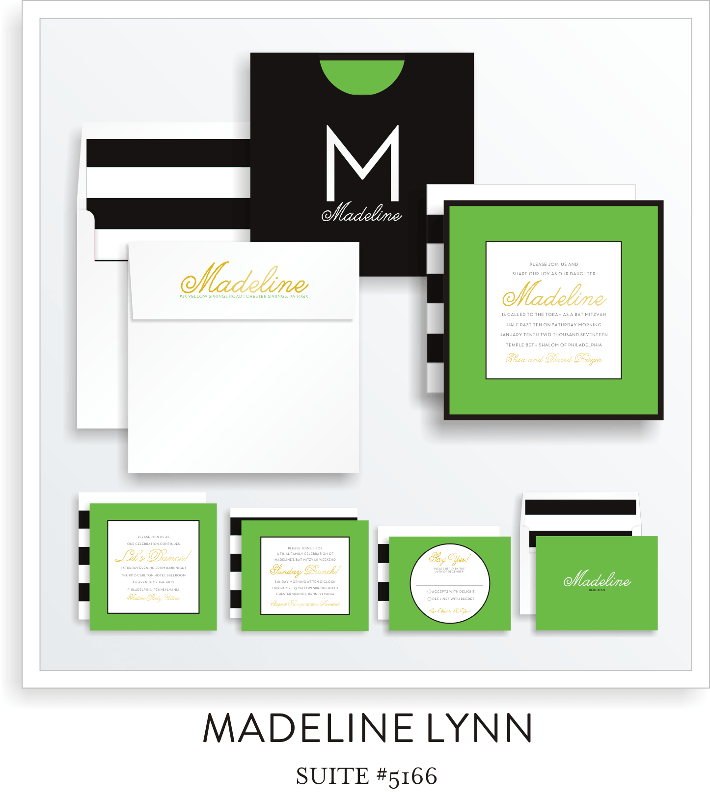 Bat Mitzvah Invitation Suite 5166 - Madeline Lynn