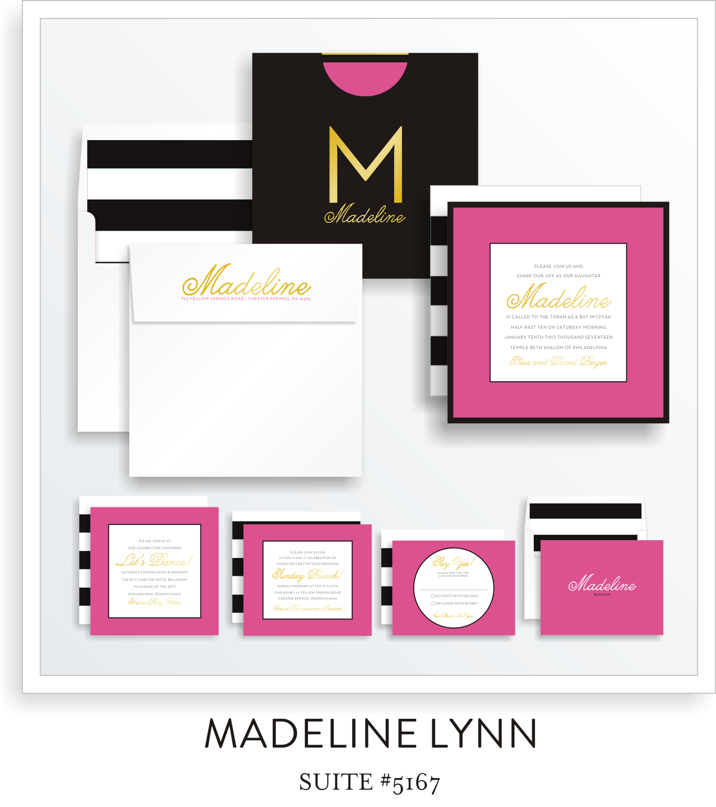 Bat Mitzvah Invitation Suite 5167 - Madeline Lynn